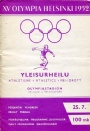 PROGRAM Programme Athletics 25.7 XV Olympia Helsinki 1952