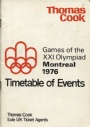 1976 Montreal-Innsbruck Timetable of events Olympiad Montreal 1976